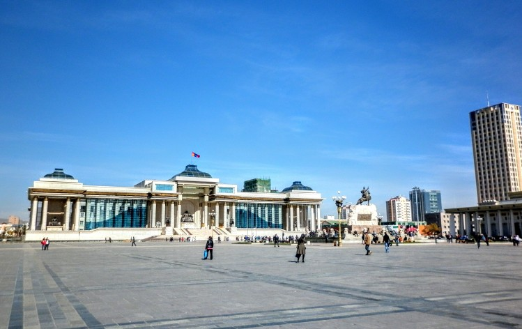 Central square in Ulan Bator, the capital of Mongolia