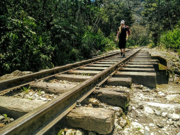 Following the railroad from Hydro Electrica to Aguas Calientes in Peru