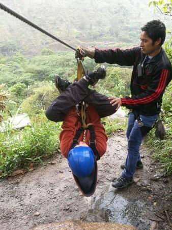 Zip lining in Peru