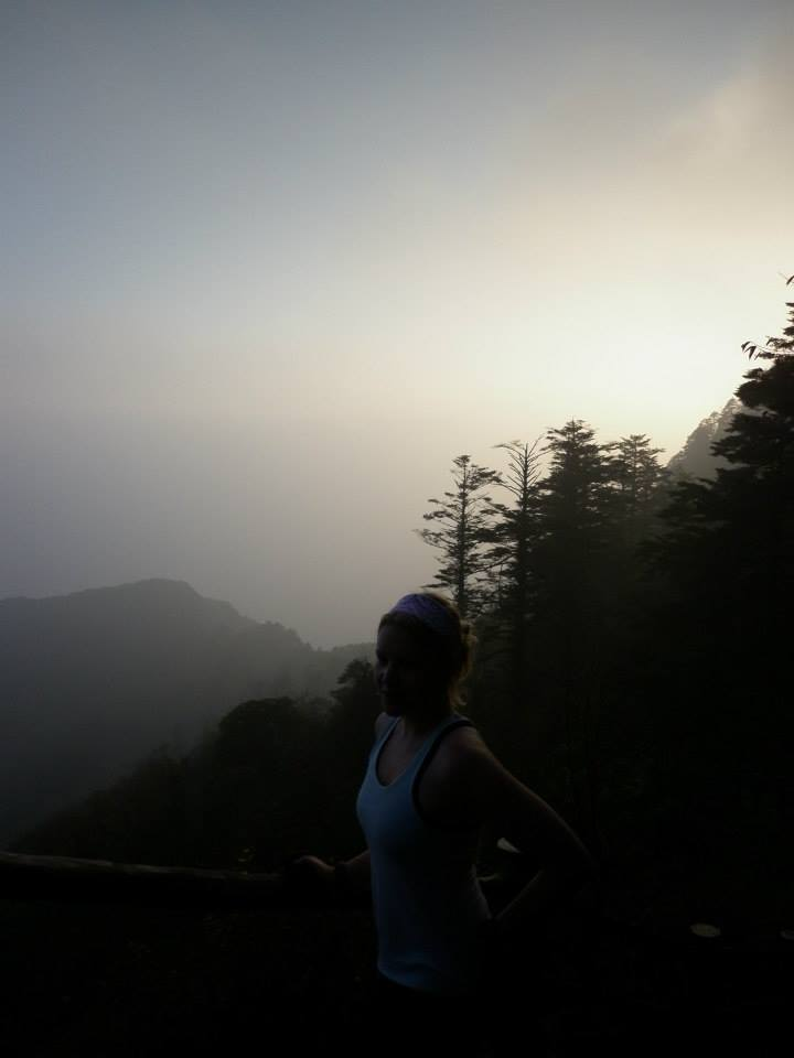 Sunrise up in the mountain of Emei Shan, in China