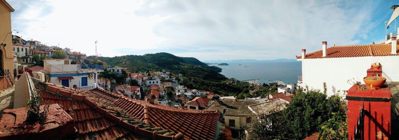 View over Glossa in Skopelos