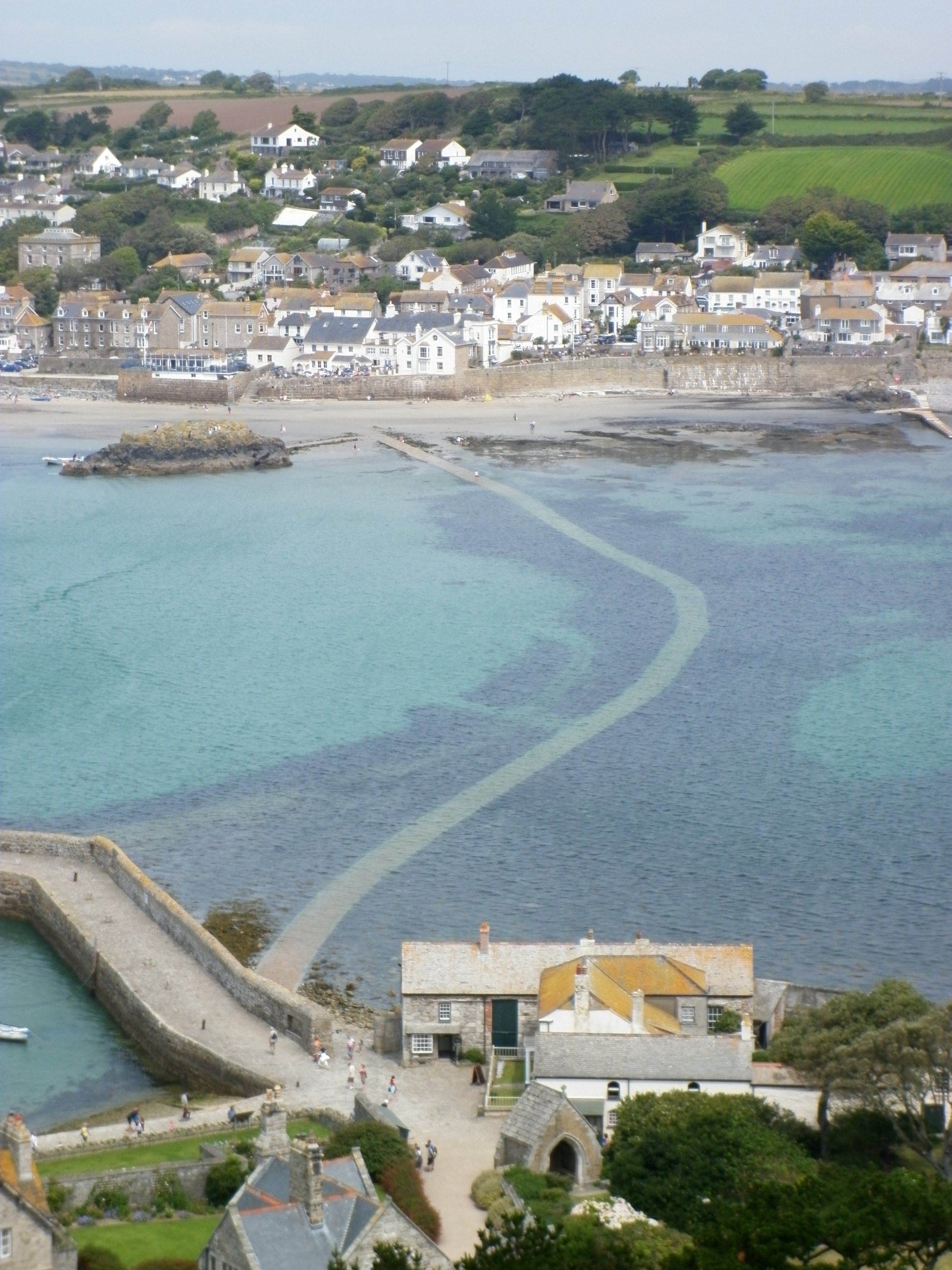 The cobbled causeway to St Michael's Mount